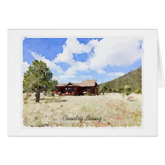 Single House Country Living Watercolor Greeting Card