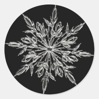 Single Ice Crystal on Black Classic Round Sticker