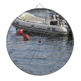 Single inflatable dinghy with outboard motor dart boards