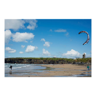 single kite surfer getting ready poster