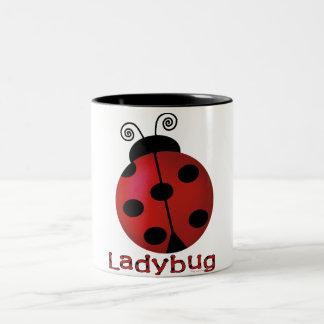 Single Ladybug Two-Tone Coffee Mug