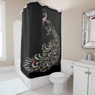 Single Large Multicolored Beaded Peacock Design Shower Curtain