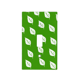 single leaf pattern green light switch cover