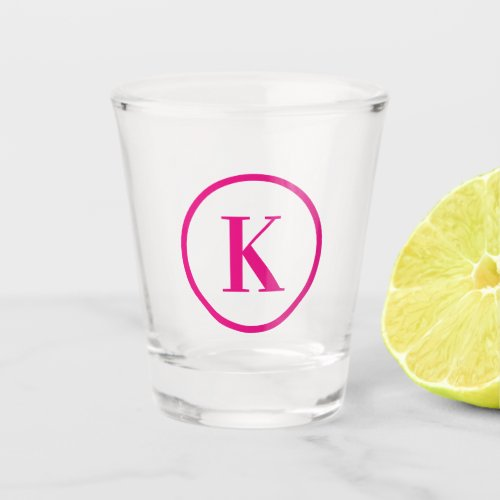 Single Letter Hot Pink Ring Shape Monogram Shot Glass