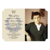 Single Letter Monogram Blue Photo Graduation Card