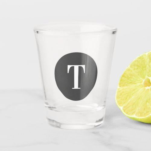 Single Letter Simple Grey Circle Shape Monogram Shot Glass
