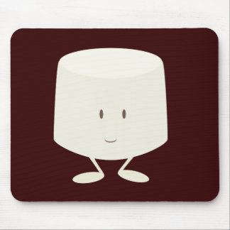 Single marshmallow character smiling mouse pad