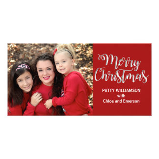 Single Mom Dad Parent Merry Christmas Photo Card