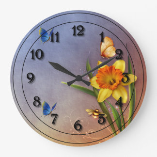 Single Narcissus with Bee Wallclocks