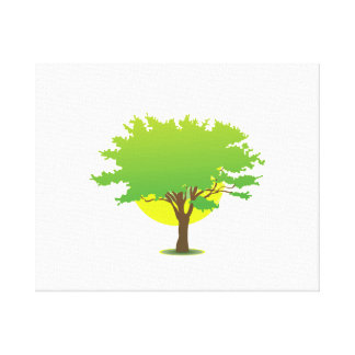 Single oak tree sun behind graphic canvas print