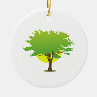 Single oak tree sun behind graphic Double-Sided ceramic round christmas ornament