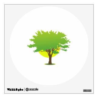 Single oak tree sun behind graphic wall decal