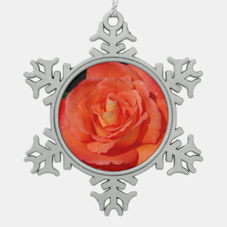 Single orange rose snowflake pewter christmas ornament