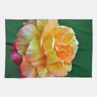 Single orange tea rose towels