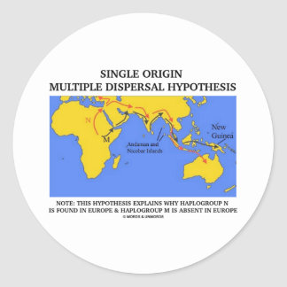 Single Origin Multiple Dispersal (Evolution) Round Stickers