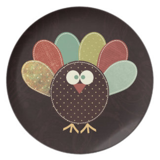 Single Patchwork Thanksgiving Turkey Dinner Plate