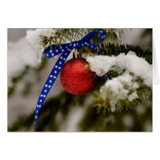 Single Patriotic Christmas Ornament Card at Zazzle
