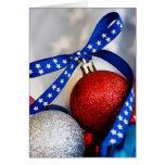 Single Patriotic Christmas Ornament Greeting Card