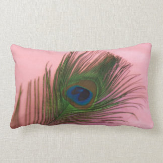 Single Peacock Feather with Pink Lumbar Pillow