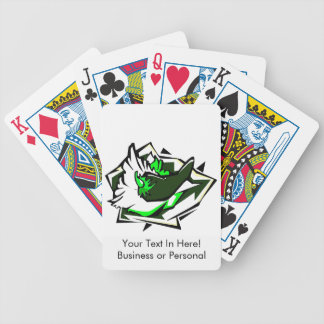 Single pepper green on abstract lettuce leaf bicycle playing cards