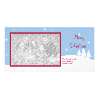Single photo snowy blue Christmas holiday greeting Photo Card Template