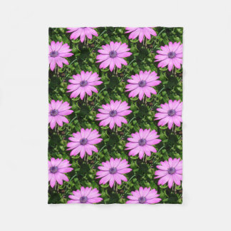 Single Pink African Daisy Against Green Foliage Fleece Blanket