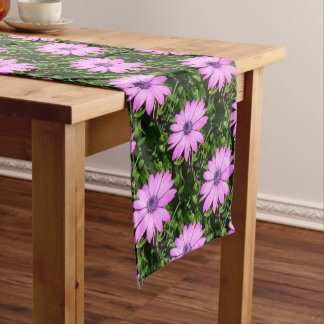 Single Pink African Daisy Against Green Foliage Short Table Runner
