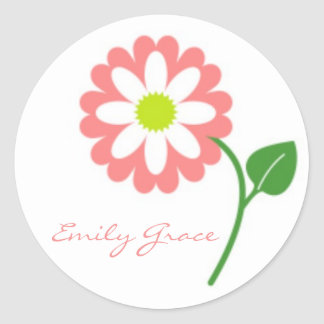 Single Pink Blooming Daisy Stickers