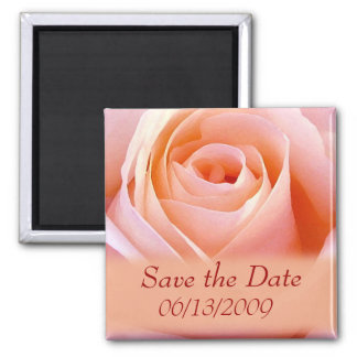 Single Pink Bridal rose save the date Magnet