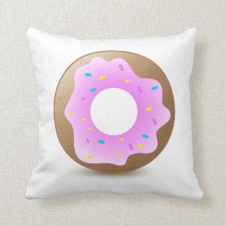 Single Pink Donut Throw Pillow