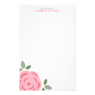 Single Pink Flower Stationery