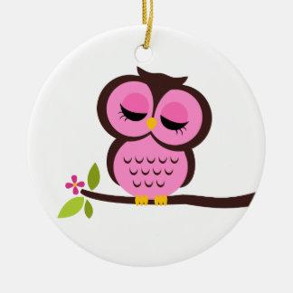 Single Pink Owl Ornament