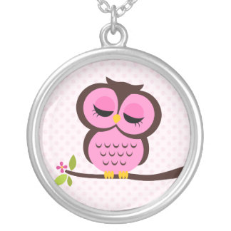 Single Pink Owl Round Pendant Necklace