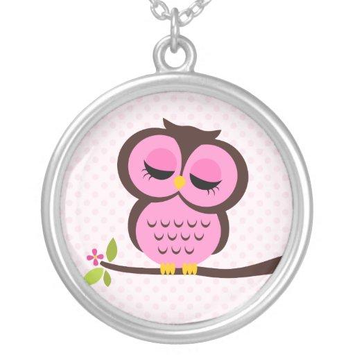 Single Pink Owl Round Pendant Necklace