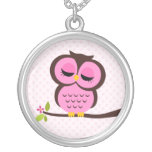 Single Pink Owl Silver Plated Necklace