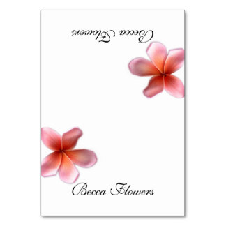 Single Pink Plumeria Tented Place Cards
