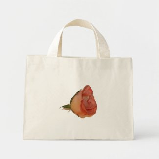 Single pink rose bloom side view cutout picture bag