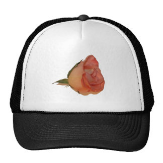 Single pink rose bloom side view cutout picture mesh hats