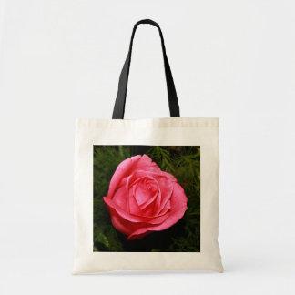 Single Pink Rose Budget Tote Bag