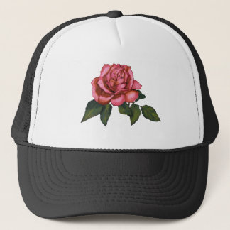 Single Pink Rose: Color Pencil Drawing: Art Trucker Hat