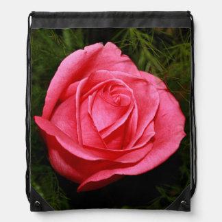 Single Pink Rose Drawstring Backpacks