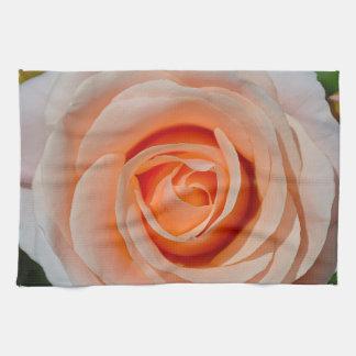 Single pink rose hand towel
