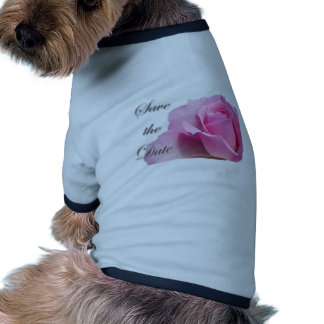 Single Pink Rose Save the Date Doggie T Shirt