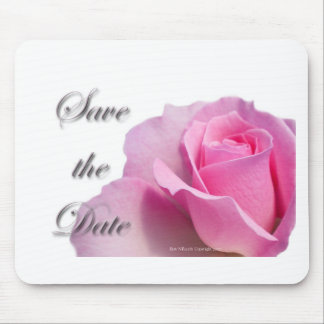 Single Pink Rose Save the Date Mouse Pad