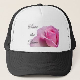 Single Pink Rose Save the Date Trucker Hat