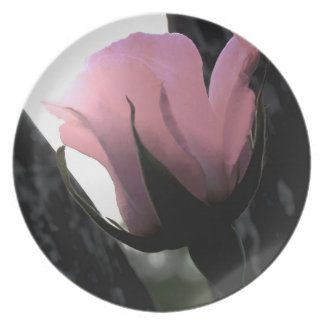 Single Pink Rose Soft Dinner Plate