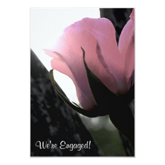 Single Pink Rose Soft Engagement Party Card