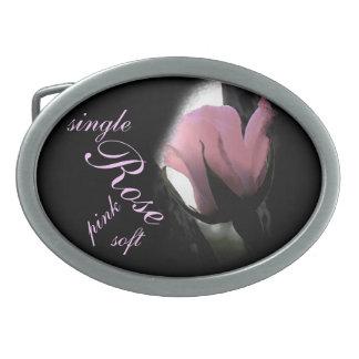 Single Pink Rose Soft Oval Belt Buckles