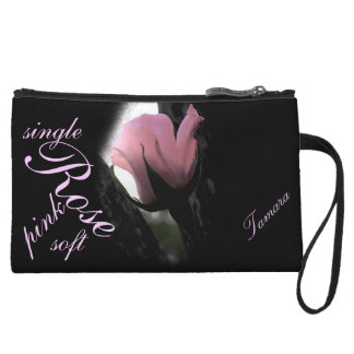 Single Pink Rose Soft Personalized Wristlet Wallet
