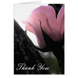Single Pink Rose Soft Thank You Stationery Note Card